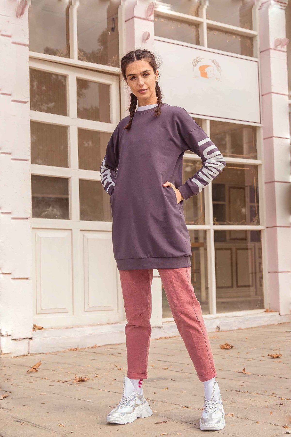 Women's Long Purple Sweatshirt