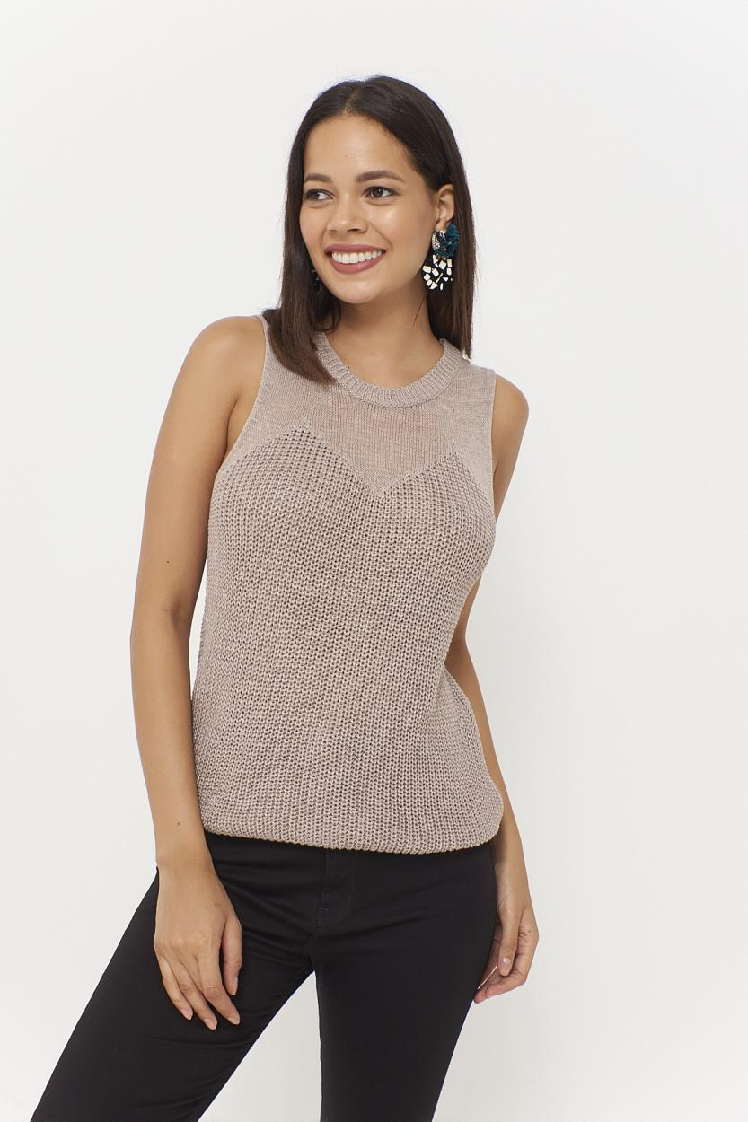Women's Sleeveless Mink Tricot Blouse