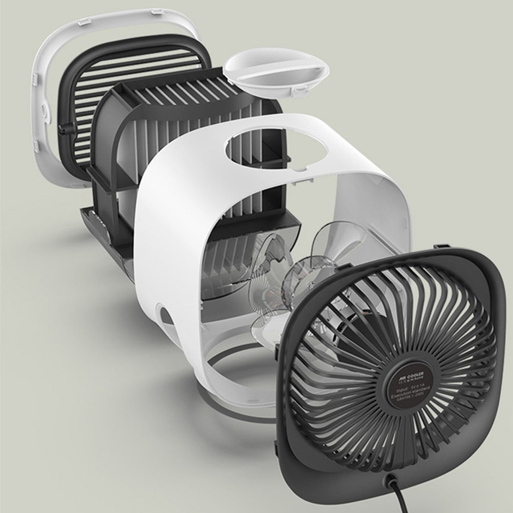 Portable Turbine Mini Air Conditioner Cooler USB Fan, with 3 Speed Levels, LED Light