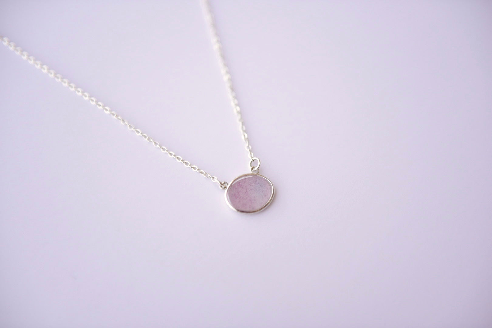 Pink & Blue Watercolor Necklace in Silver