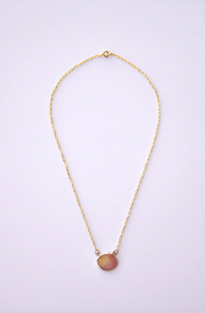 Pink Watercolor Necklace in Gold