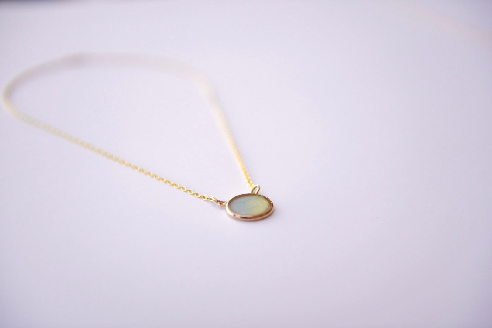 Blue-Green Watercolor Necklace in Gold