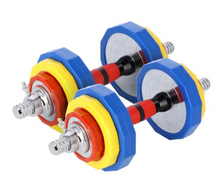 Carica l'immagine nel visualizzatore di Gallery, HMS Rubberized Colourful Adjustable Dumbbells 2 x 10kg