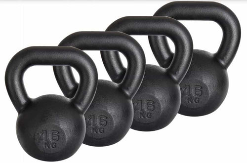 BLACK CAST IRON KETEBELL DEAL 16 KETTLEBELLS  4 TO 24KG - IRON-STRENGTH.CO.UK