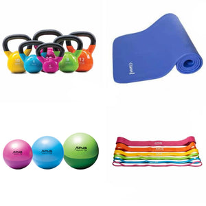 Home Fitness bundle Kettlebell Power Band Yoga Mat Gym Ball