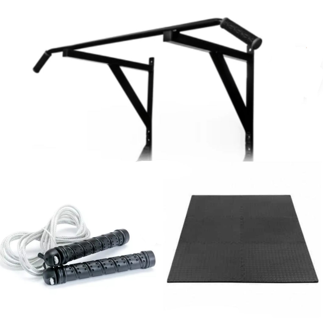 Outdoor Fitness and Strength Bundle Pull up Bar, Puzzle Mat, Skipping Rope