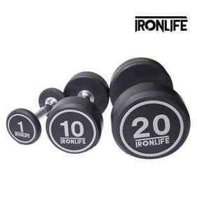 IRON LIFE QUALITY RUBBER DUMBBELLS 1-10kg singles