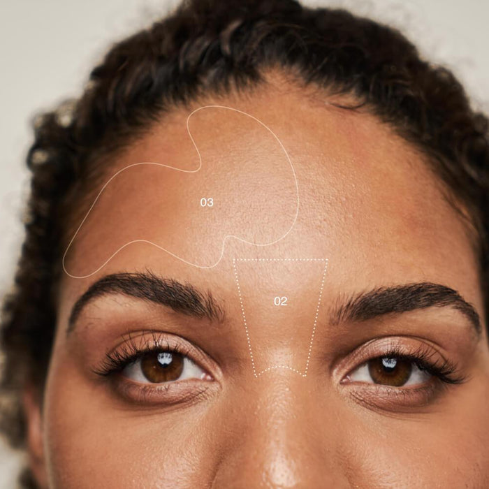 face mapping lines on woman's face