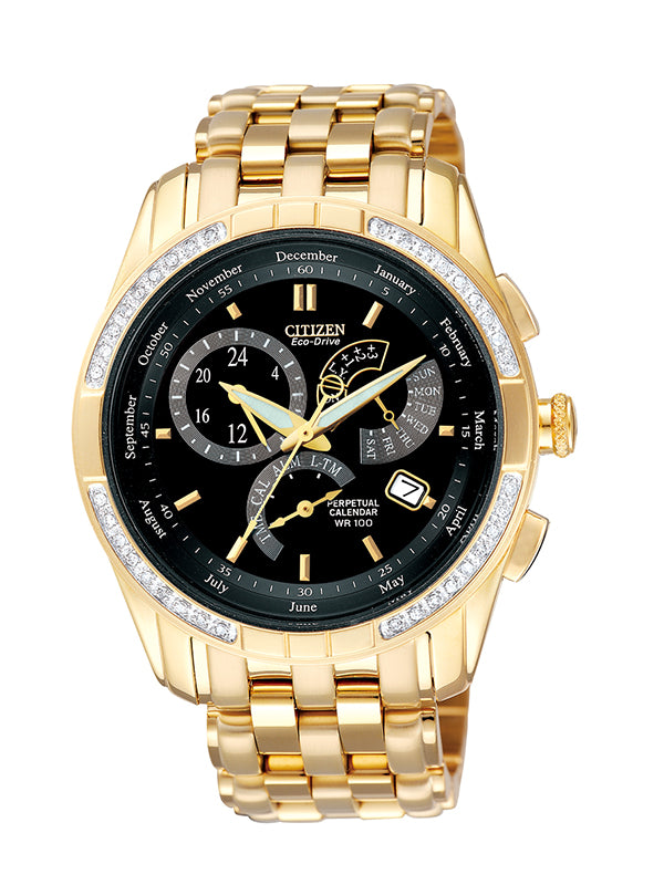 Citizen Men's Eco-Drive Diamond Gold Watch BL8043-51E