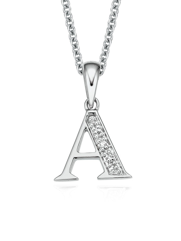 Sterling Silver Diamond Set Initial Pendant