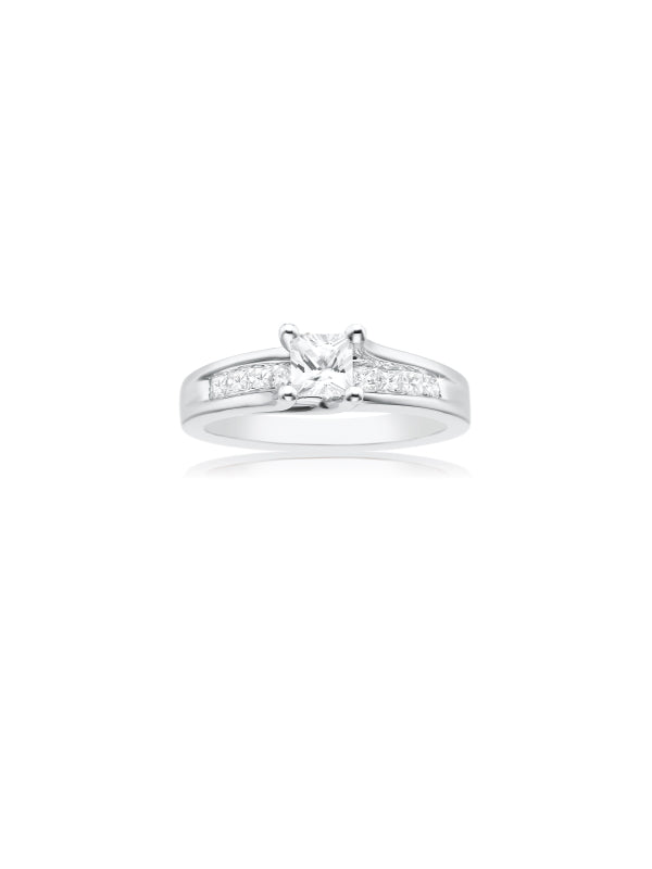 New York 14ct White Gold Princess Cut with 1 CARAT tw of Diamonds