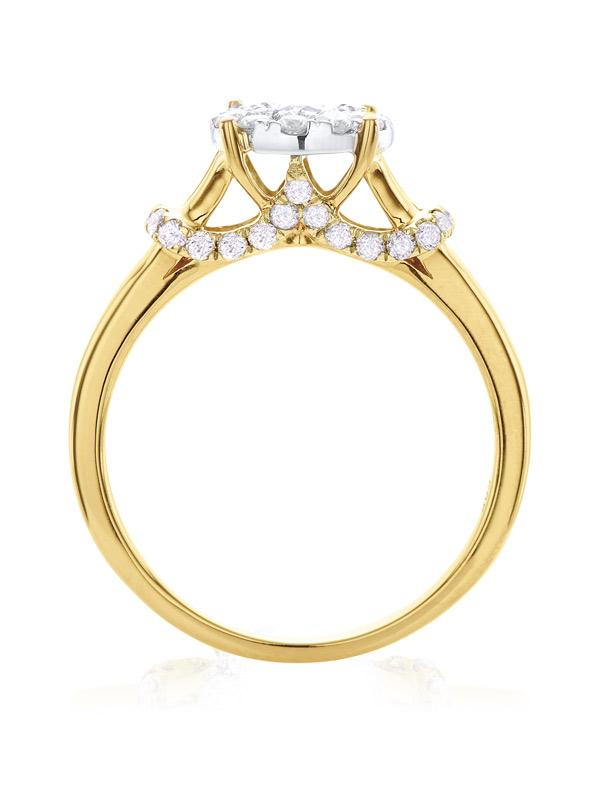 Paris 14ct Two Tone Gold Round Brilliant Cut with 3/4 CARAT tw of Diamonds