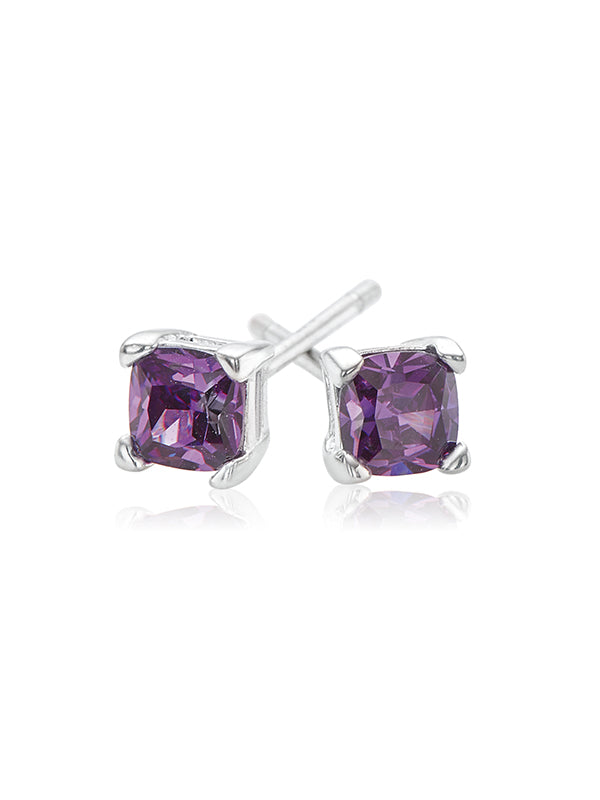 Sterling Silver 4mm Purple Cubic Zirconia Studs