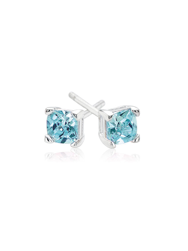 Sterling Silver 4mm Blue Cubic Zirconia Studs