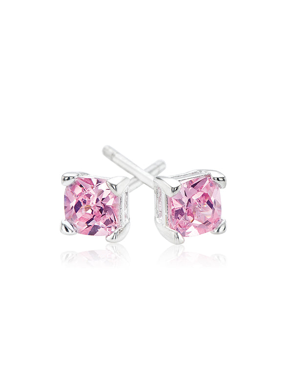 Sterling Silver 4mm Pink Cubic Zirconia Studs