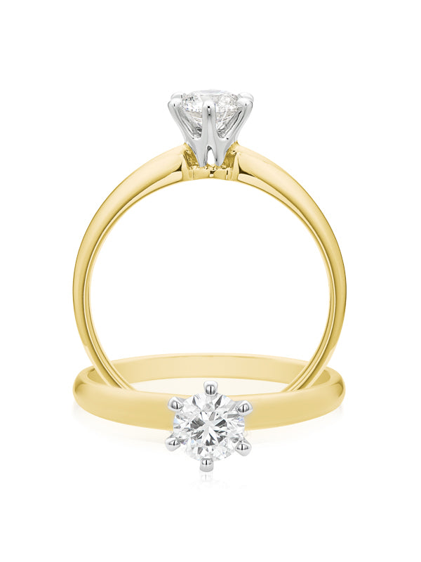 Solitaire 18ct Two Tone Gold Round Brilliant Cut with 1/2 CARAT of Diamonds