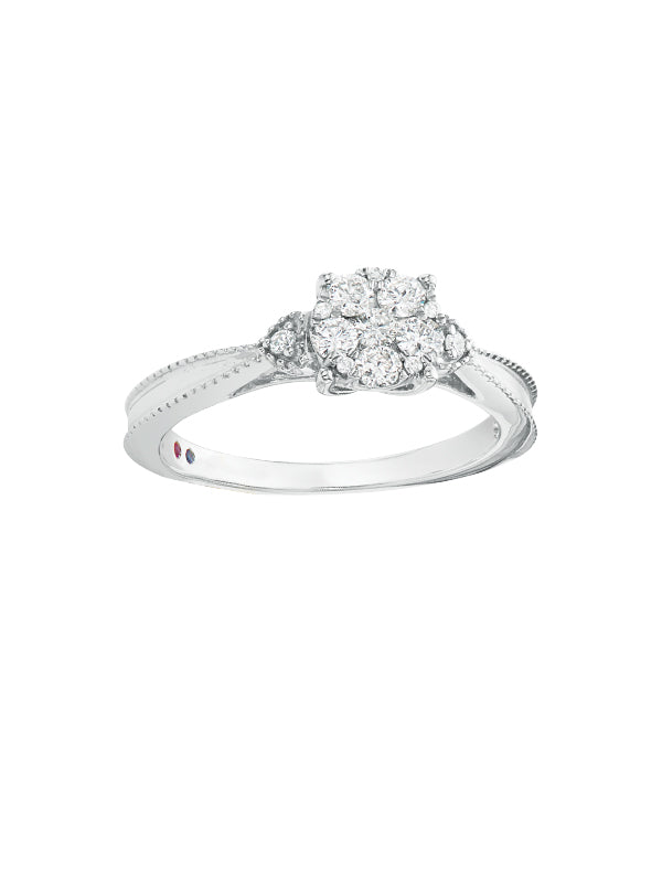 London 9ct White Gold Round Brilliant Cut with 1/3 CARAT tw of Diamonds