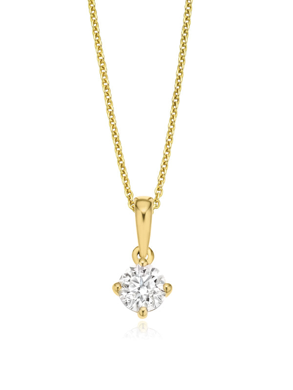 Solitaire 9ct Yellow Gold Round Brilliant Cut with 1/2 CARAT of Diamonds