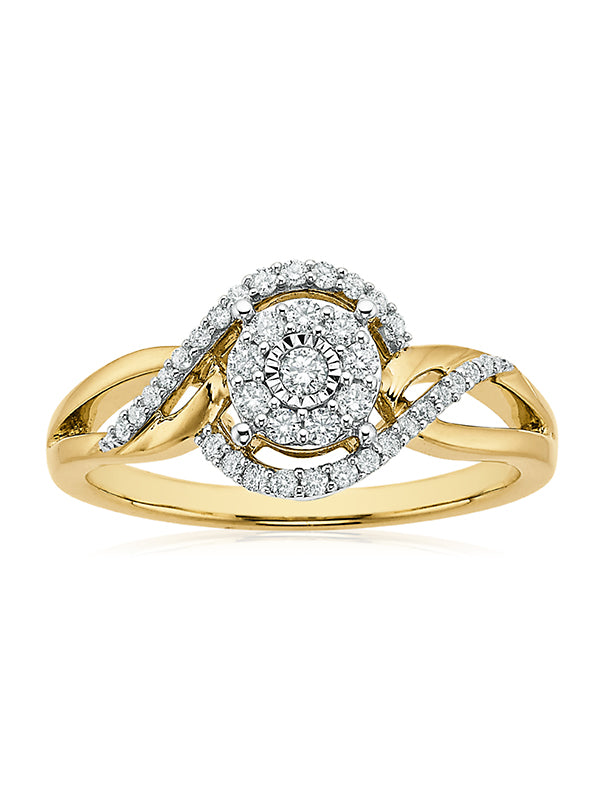 London 9ct Yellow Gold Round Brilliant Cut with 1/4 CARAT tw of Diamonds
