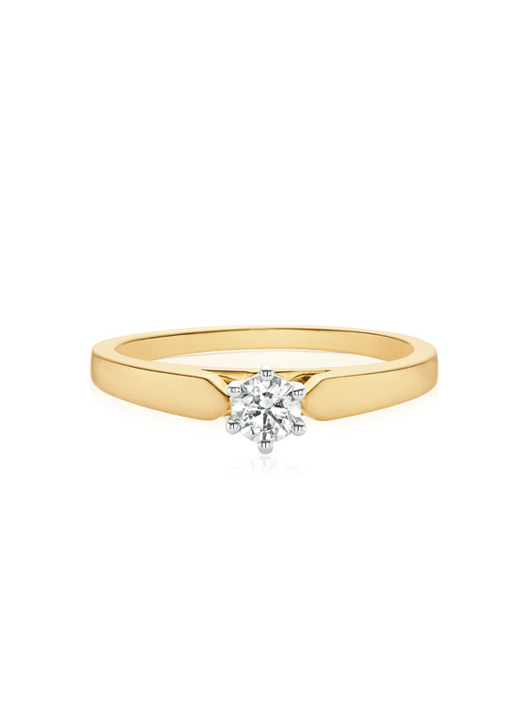 Solitaire 9ct Two Tone Gold Round Brilliant Cut with 1/4 CARAT of Diamonds