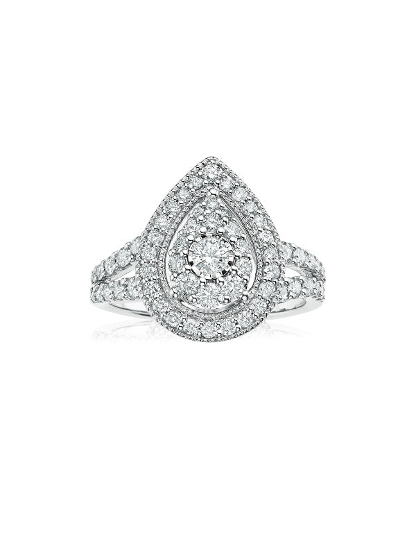 Paris 14ct White Gold Round Brilliant Cut with 1 CARAT tw of Diamonds