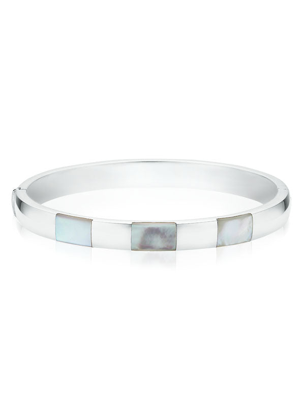 Sterling Silver 62x7mm Mother of Pearl Bangle