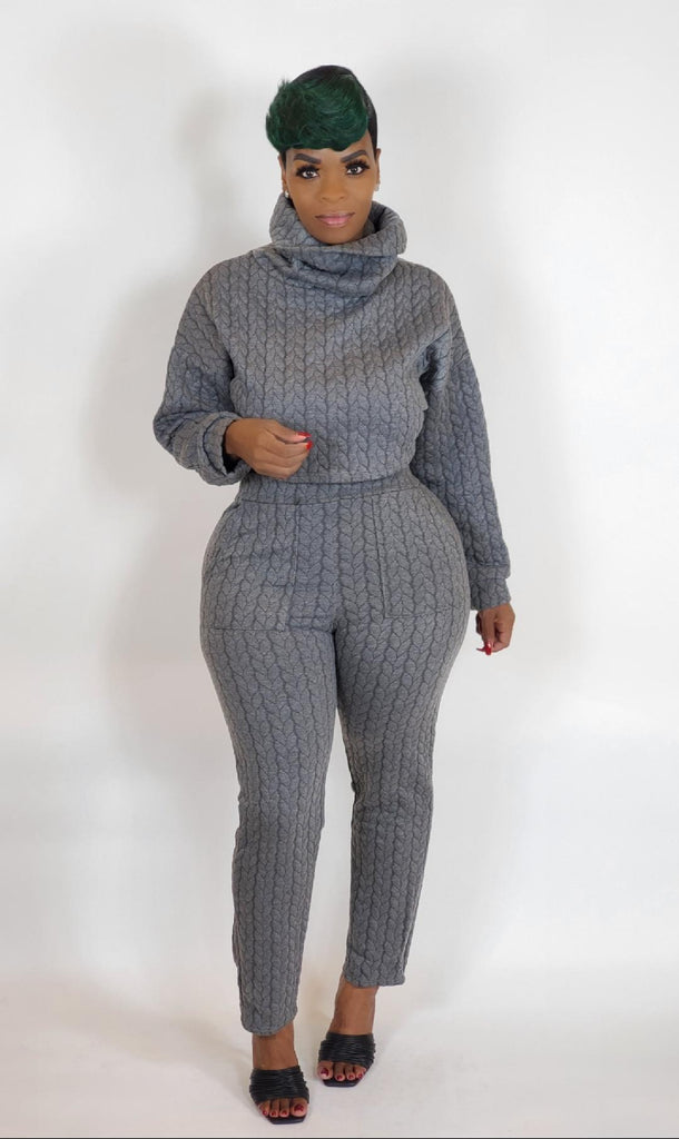 IVY GREY CABLE KNIT SET