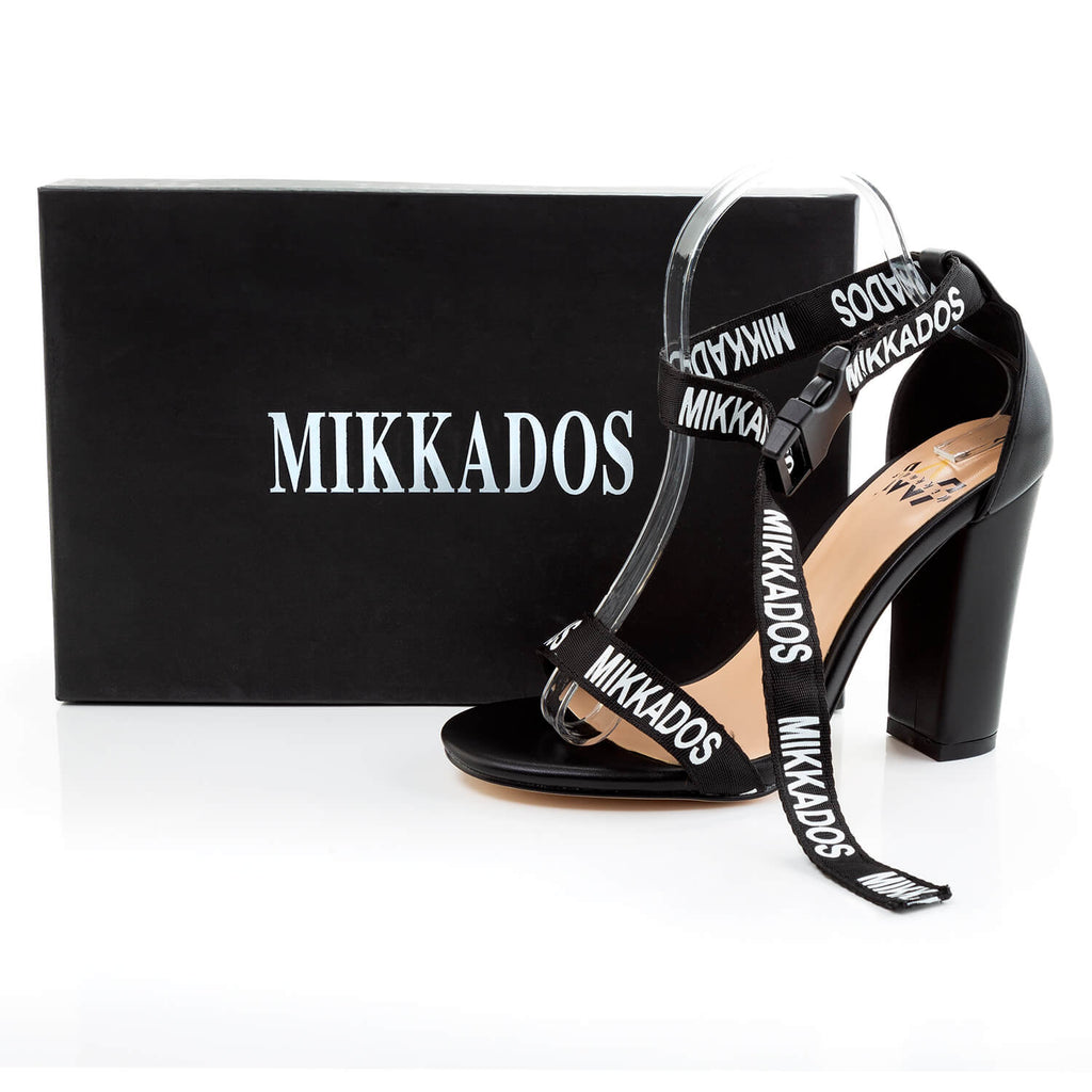 "BLACK & WHITE BLOCK HEEL ""DEMI"" SANDAL"