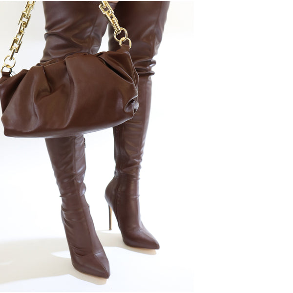 CHOCOLATE LEATHER THIGH HIGH BOOTS