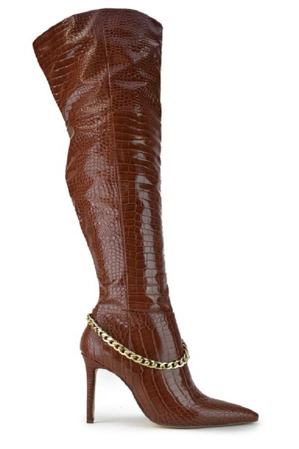 RILEY BROWN THIGH HIGH CROC BOOT
