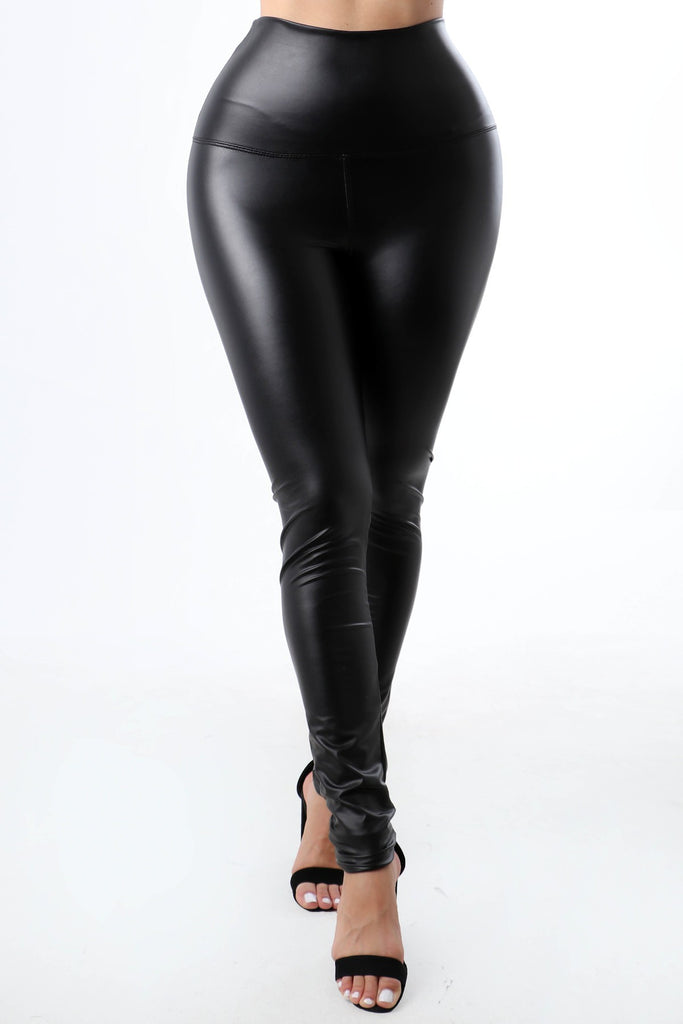 IN THE NICK OF TIME HIGH WAISTED BLACK FAUX LEATHER LEGGINGS