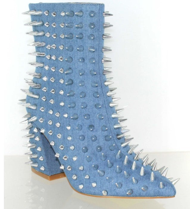 WILLOW DENIM SPIKE BOOTIE
