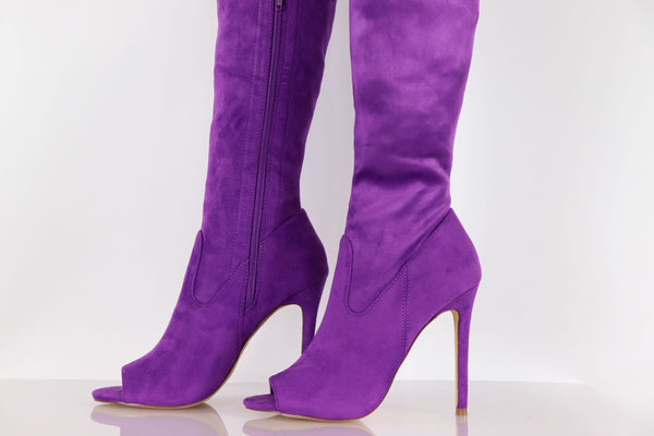 Avery Purple Thigh High Boot