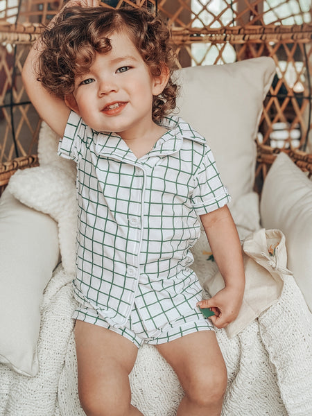 Farmhouse Check Button Down Short Pajamas - Green