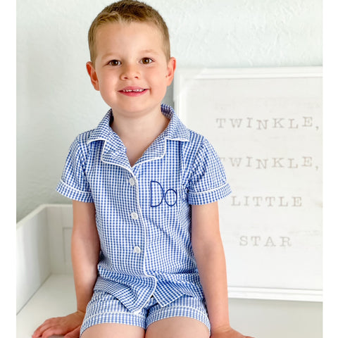 Gingham Button Down Short Pajamas - Blue