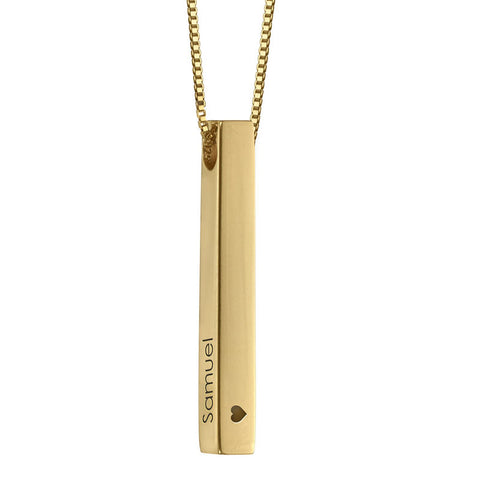 Dimensional Love 3D Bar Necklace in 18k Gold Plating