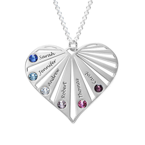 Family Necklace with Birthstones in Sterling Silver