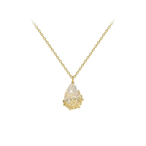 fashion jewelry simple generous crystal water drop pendant necklace