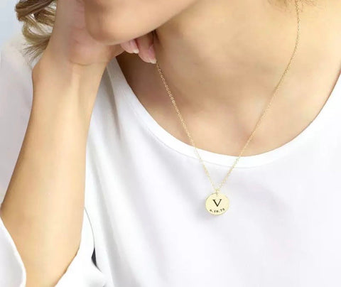 DIY Tiny Gold Initial Necklace