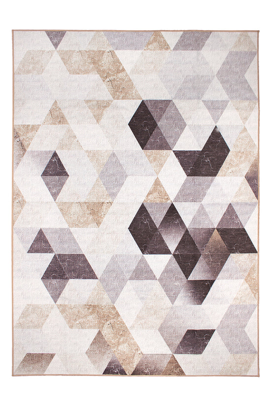 Lattice Geometric Neutral Washable Rug