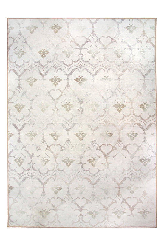 Leilani Damask Ivory Washable Rug