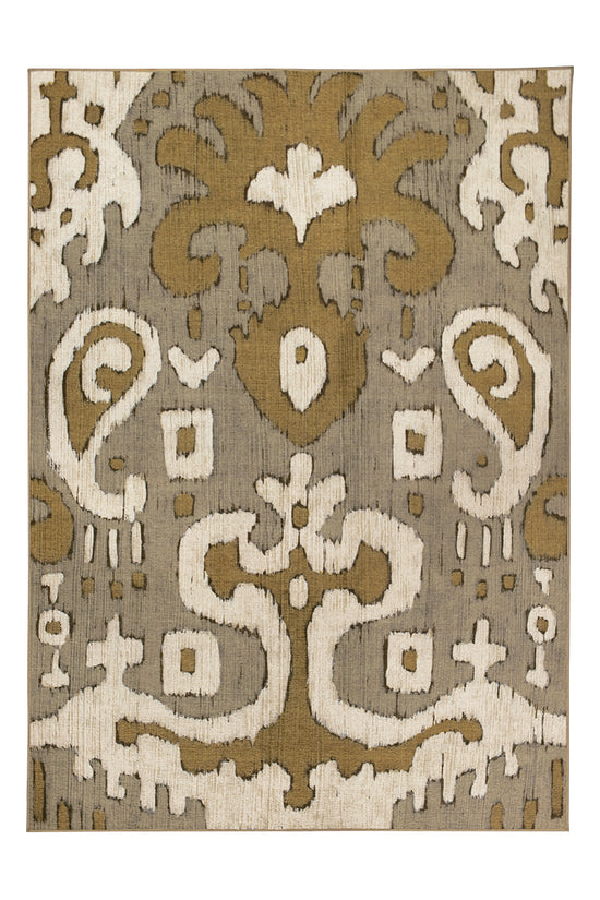 Ochre Ikat Grey Gold Washable Rug