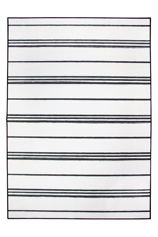 Stripe Black and White Washable Rug