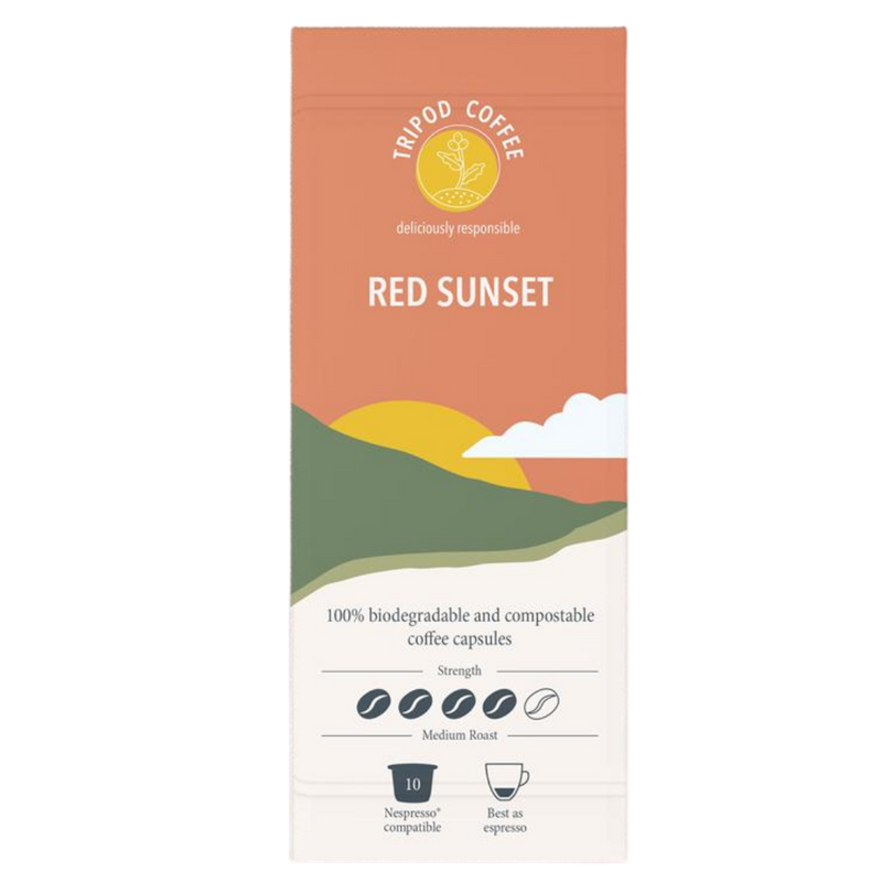 Compostable Coffee Pods Red Sunset | Tripod Coffee | Zenko