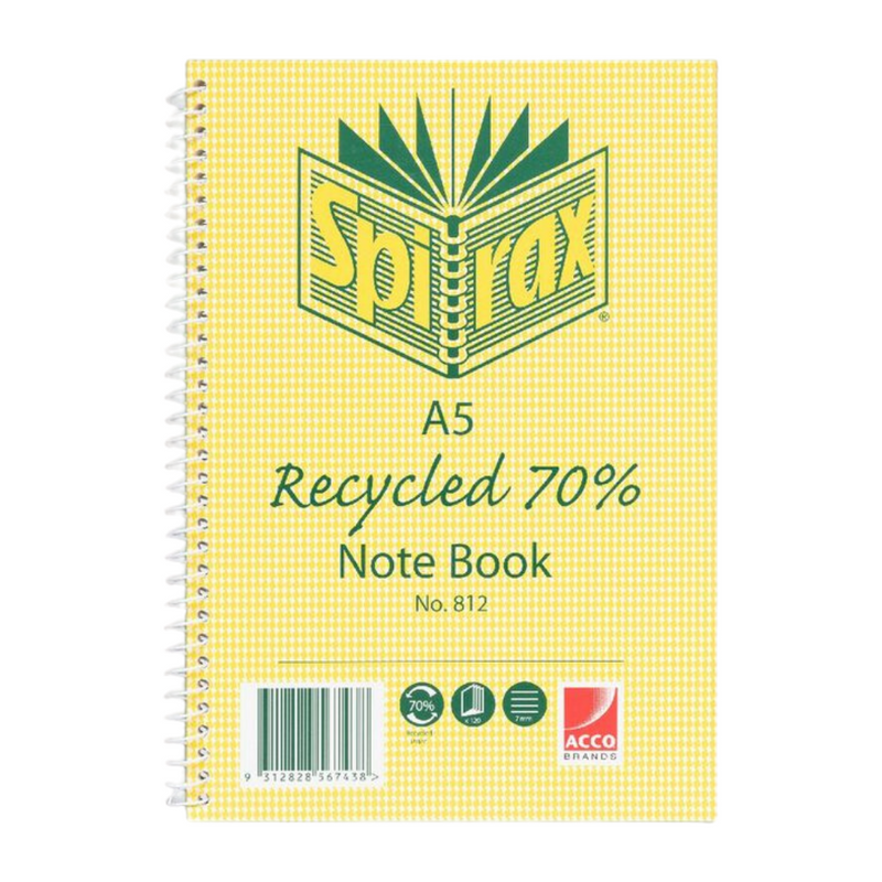 Recycled Notebook A5 120 Pages | Spirax | Zenko