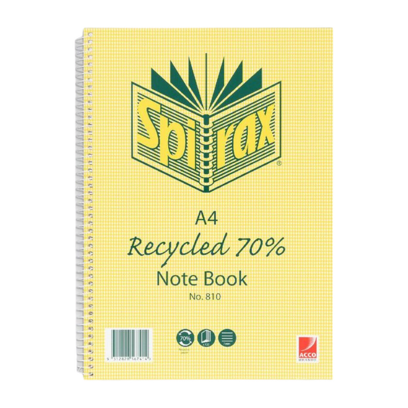 Recycled Notebook A4 120 Pages | Spirax | Zenko