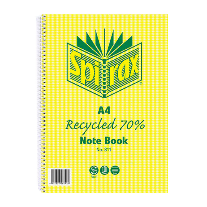 Recycled Notebook A4 240 Pages | Spirax | Zenko