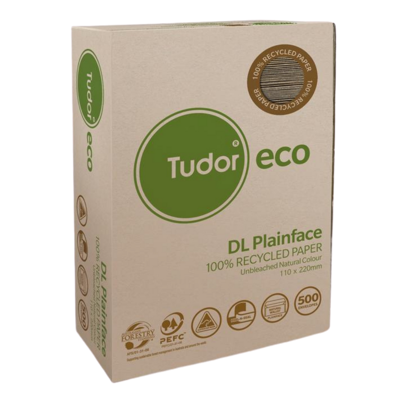 Envelope 100% Recycled DL 110x220mm - 500 Pack | Tudor | Zenko