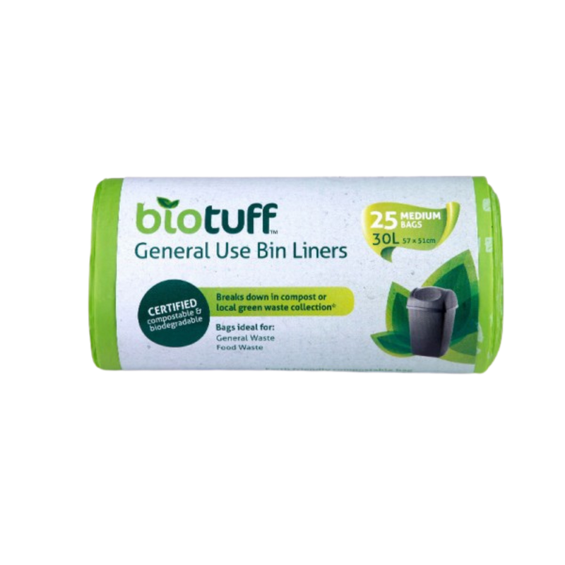 General Use Bin Liners Medium 30L - 25 Bags | Biotuff | Zenko