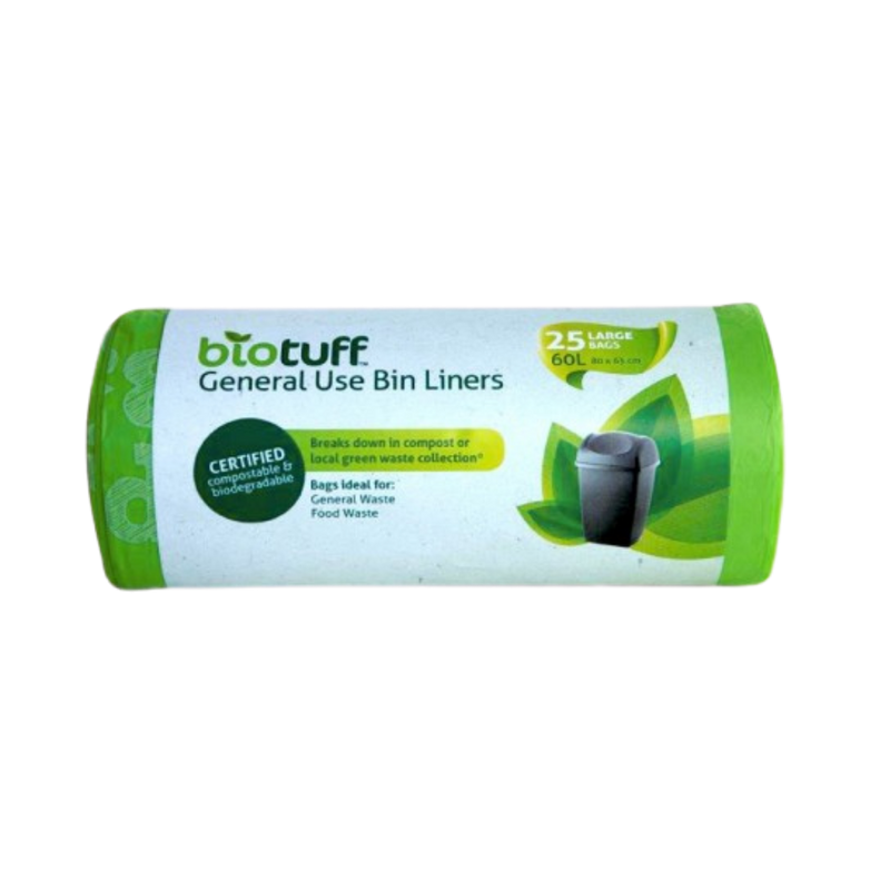 General Use Bin Liners Large 60L - 25 Bags | Biotuff | Zenko